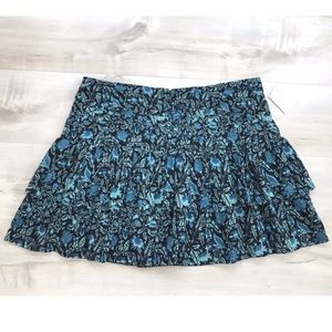 Paige Denim Mini Skirt Floral Paisley Ruffles